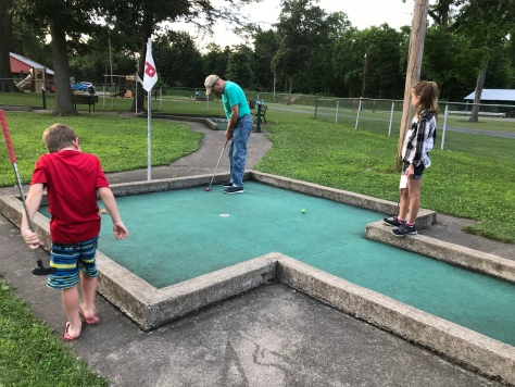 Mini Golfing with Pap in June